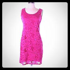 TIANA B.  Fuchsia Pink Lace Dress